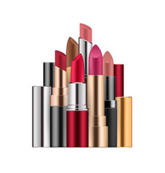 lipstick set in different colors open case vector image