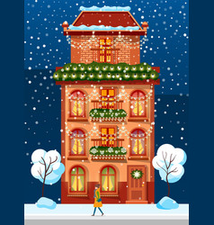 living building with winter festive decoration vector image
