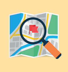 Magnifying glass over folding map flat icon vector