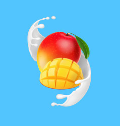 mango fruit in yogurt splash realistic vector image