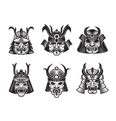 martial masks warrior japanese samurai shogun vector image