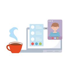 Meeting online laptop website conversation coffee vector