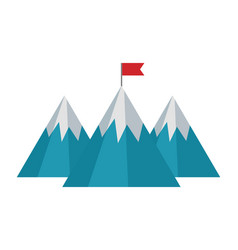 mountains with flag isolated icon vector image