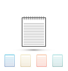 notebook icon spiral notepad school notebook vector image