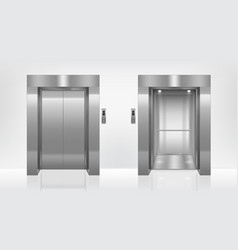 open and closed elevator doors in office hallway vector image