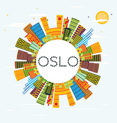 Oslo skyline with color buildings blue sky and vector