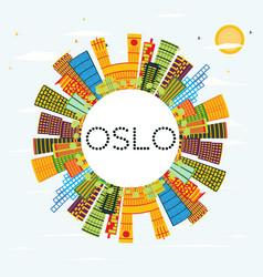 Oslo skyline with color buildings blue sky vector