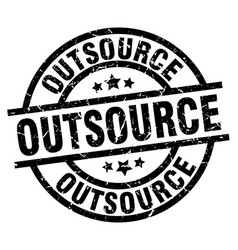 Outsource round grunge black stamp vector