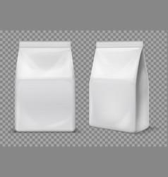 Paper snack bag food blank white sachet vector