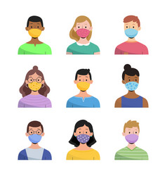 people wearing face mask set vector image