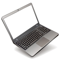 Photo realistic laptop with blank screen isolated vector