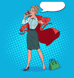 Pop art business woman late at work busy girl vector