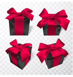 realistic black gift box with pink bow isolated vector image