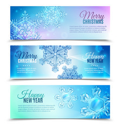 realistic snowflake banner set vector image
