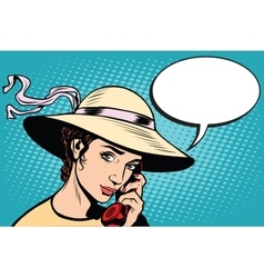 Retro woman talking on the phone vector image