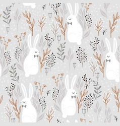 seamless forest pattern with adorable rabbits in vector image