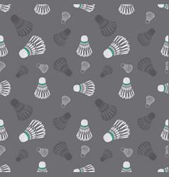 Seamless grey badminton shuttlecock pattern vector