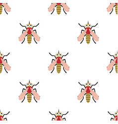 seamless pattern with cartoon mosquito vector image