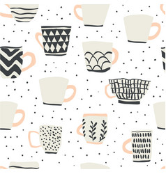 seamless pattern with scandinavian style cups vector image
