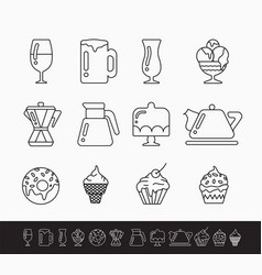 set of black and white linear icons on the theme vector image