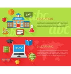 Set of education and e-learning concept banners vector image