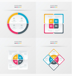 Set of presentation template yellow blue pink vector
