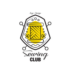 sewing club logo design emblem with heraldic vector image