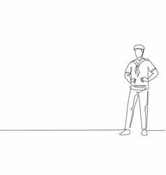 single continuous line drawing young handsome vector image