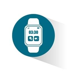 Smart watch wearable technology blue circle vector