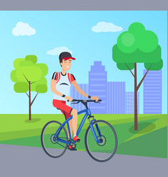 Smilling man on blue bike vector