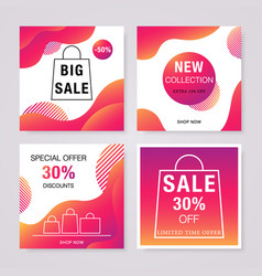 social media sale banners set bright fluid vector image