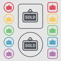 Sold icon sign symbol on the Round and square vector