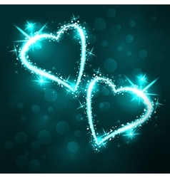 Sparkling 2 hearts on dark background vector image
