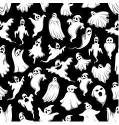 Spooky ghost halloween holiday seamless pattern vector
