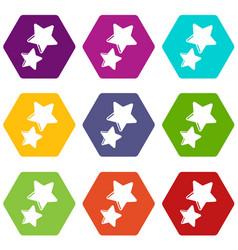 Stars icons set 9 vector