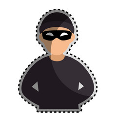 Sticker color silhouette with criminal hacker vector
