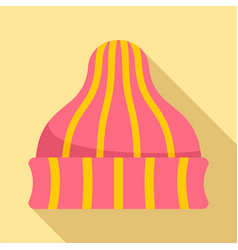Striped winter beanie icon flat style vector
