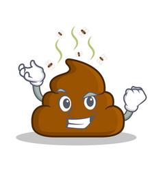 Successful poop emoticon character cartoon vector