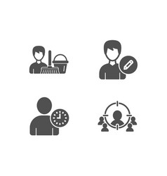 Time management edit person and cleaning service vector