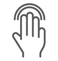 triple double tap line icon gesture and hand vector image