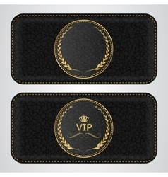 Two black leather VIP horizontal banner with a vector image