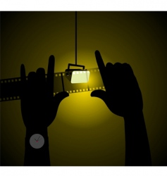 two hands with light vector image