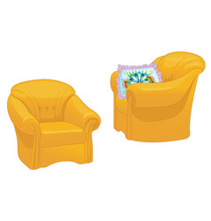 two yellow armchairs with pillow isolated vector image