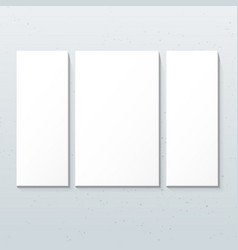vertical white triptych posters mockup vector image