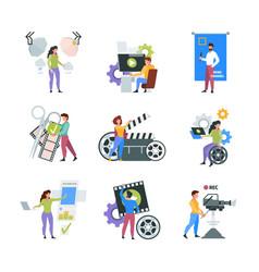 Video production filmmaker characters shooting vector