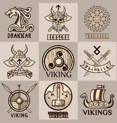 Viking mythology symbols and icons vector