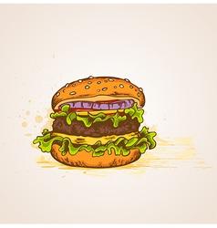 Vintage hand drawn hamburger vector