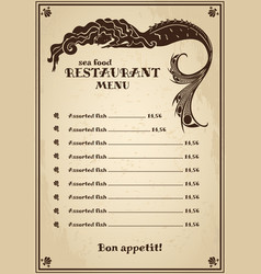 Vintage menu for pub cafe restaurant with sea vector