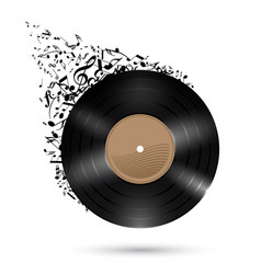 Vinyl record with music notes flying up on white vector
