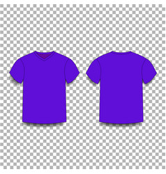 violet men s t-shirt template v-neck front and vector image